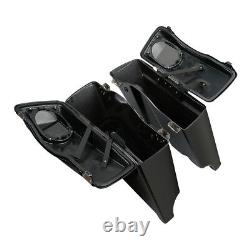 5 Extended Saddlebags with Speakers Fit For Harley Street Road Glide King 93-13