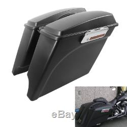5 Stretched Extended Hard Saddle Bags For Harley Street Glide Road King 1993-13