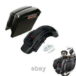 5 Stretched Saddlebag & Rear Fender Fit For Harley Street Glide Road King 14-21
