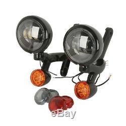 Auxiliary Turn Signal Spot Fog Light Bracket For Harley Street Glide Road King