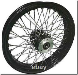 Black 60 Spoke Front Wheel 16 Billet Hub Harley Electra Glide Road King Street