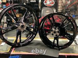 Black Enforcer Mag Wheels Harley Bagger FLHX Street Road Glide King 2009^ 19 16