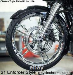 Chrome Enforcer Front 21 & Rear 16 Wheel 08-20 Road King Ultra Street Glide