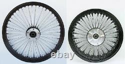 Fat Spoke 21 Front 18 Rear Black Wheel Harley 09+ Electra Glide Road King Street