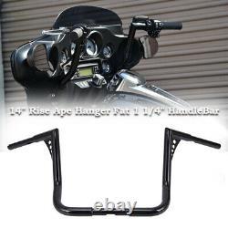 Rise 14 Ape Hanger HandleBar For Harley Touring Road Electra Glide Street King