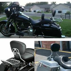 Sissy Bar Passenger Backrest With Rack For Harley Street Glide Road King 2009-2021