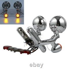 Turn Signal LED Spot Fog Light Bracket Fit For Harley Street Glide Road King