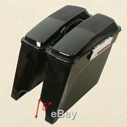 Vivid Black 5 Stretched Saddlebag Speaker Lid For Harley Road King Street Glide
