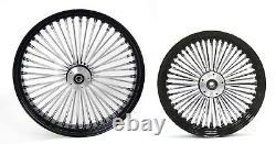 Fat Spoke 23 - 16 Black Wheels Avant/arrière Harley Electra Glide Road King Street