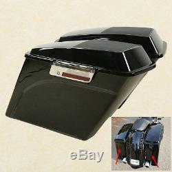 VIVID Black 5 Etendu Saddlebag Président Couvercle Pour Harley Road King Street Glide