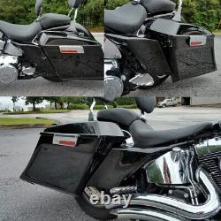 VIVID Noir Étranglé Couvertures Latérales Convient Pour Harley Touring Road King Street Glide